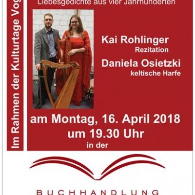 Kulturtage Vogelstang:Liebeslyrik mit Kai Rohlinger und Daniela Osietzki am 16.4.2018